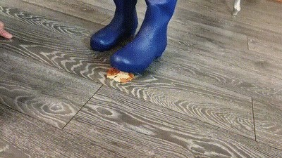 Blue rubber boots and sweaty feet