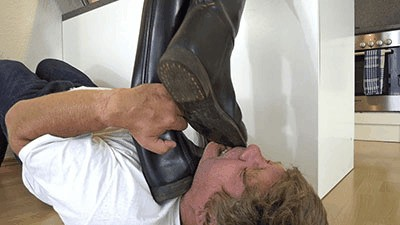 Crushing his throat and face under riding boots