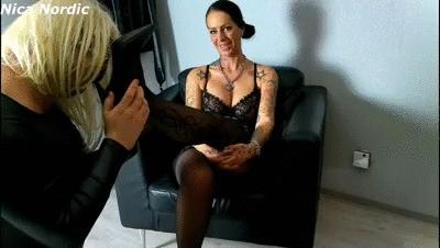 Sissybitch adores the feet of the smoking nylon mistress
