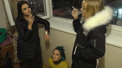 ANGELINA and SELENA - This whore is like a trash can - Human ashtray and humiliation (mp4)