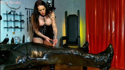 Orgasm control in foil bondage