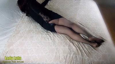 Lady Lulu black pantyhose with dildo in my ass
