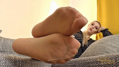 Admire my stinky nylon feet