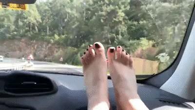 POV Bare Feet With Mistress Sofi in Car