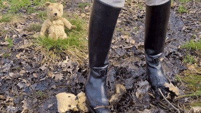 Beloved old teddys crushed into the mud