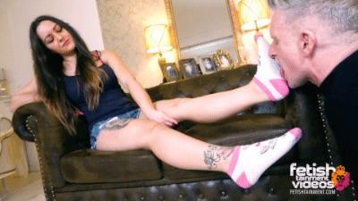 Turkish Mistress lets him worship her socks