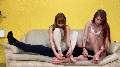 Two Girls Uses Human Furniture Slave For Double Facesitting Femdom Humiliation