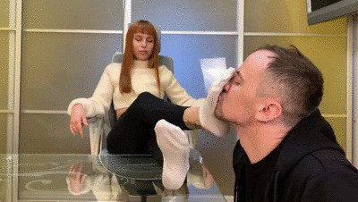 Foot Gagging, Toe Sucking and Feet Licking Femdom With Goddess Kira and Her Slave