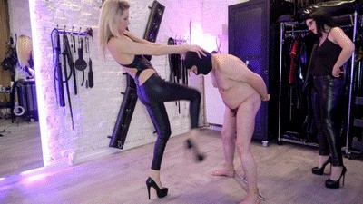 Double Domme Ballbusting