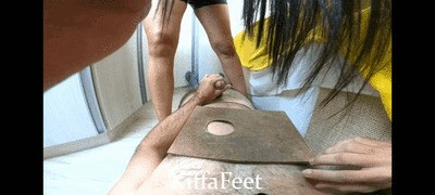 Goddess Kiffa - Backstage - Kiffa trample and plays with slave while sees her cellphone - CBT POV Backstage Footjob