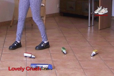 Blue DM shoes on toy trucks 1 part B (0229)