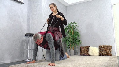 This is how she likes to ride her slave pony