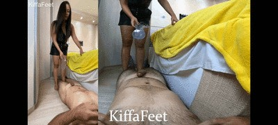 Goddess Kiffa - CBT 15 Giantess POV and 2 Angles-  Rubbing and step on losers cock with her transparent sandals on cock until he cums