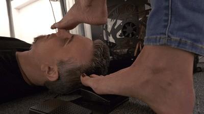 Teasing the boss' son with sweaty nylon feet