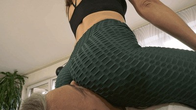 Loser smothered under my sweaty workout ass