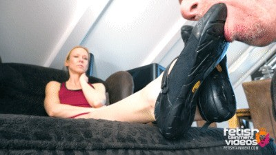 Worship my dusty biker shoes and my bare feet