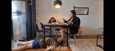 Goddess Kiffa - Foot slave serve as face footstool for Goddess Kiffa - Face footstool slave under table - FOOTSTOOL - FOOT WORSHIP - FLIP FLOPS - FACE STOMP - SWEATY FEET - TOE SUCK - FOOT GAGGING - SOLES