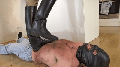 Slave suffers under my muddy riding boots
