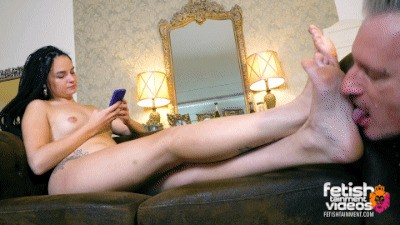 For the first time a slave licks my bare feet.