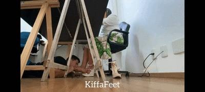 Goddess Kiffa - Computer technician glued on Kiffa`s feet  - FOOT WORSHIP - FOOT DOMINATION - FOOT GAG - HUMILIATION - AMATEUR - HIGH HEELS - FOOT SMELLING - SOLES - CONSENSUAL CANDID