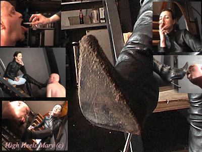 Part 1 Dirty boots licking, human ashtray training and face slapping the slave
