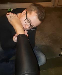 My slave licks my sweaty socks and feet